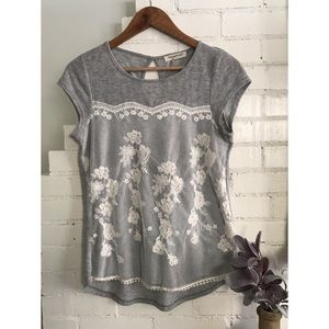 Grey Lace Overlay Tee
